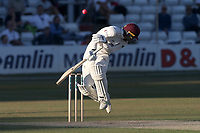 George Bartlett of Somerset takes evasive action from a Neil Wagner delivery during Essex CCC vs Somerset CCC, Specsavers County Championship Division 1 Cricket at The Cloudfm County Ground on 26th June 2018