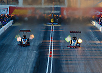Feb 24, 2018; Chandler, AZ, USA; NHRA top fuel driver Mike Salinas (left) races alongside Billy Torrence during qualifying for the Arizona Nationals at Wild Horse Pass Motorsports Park. Mandatory Credit: Mark J. Rebilas-USA TODAY Sports