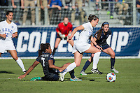 Cary, North Carolina - Sunday December 6, 2015: Taylor Racioppi (7) of the Duke Blue Devils keeps the ball away from Elizabeth Ball (7) of the Penn State Nittany Lions during second half action at the 2015 NCAA Women's College Cup at WakeMed Soccer Park.  The Nittany Lions defeated the Blue Devils 1-0.