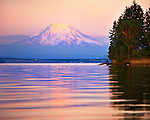 Carr Inlet, Puget Sound, WA<br /> Evening light on Mount Rainier and  Penrose Point from Mayo Cove, Penrose Point Marine State Park