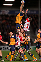 Montpellier's Konstantine Mikautadze claims the lineout<br /> <br /> Photographer Bob Bradford/CameraSport<br /> <br /> European Rugby Heineken Champions Cup Group E - Gloucester v Montpellier Herault Rugby - Saturday 11th January 2020 - Kingsholm Stadium - Gloucester<br /> <br /> World Copyright © 2019 CameraSport. All rights reserved. 43 Linden Ave. Countesthorpe. Leicester. England. LE8 5PG - Tel: +44 (0) 116 277 4147 - admin@camerasport.com - www.camerasport.com