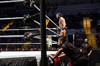WWE Champion Jinder Mahal reenters the ring after being thrown out during his match against Randy Orton at a WWE Live Summerslam Heatwave Tour event at the MassMutual Center in Springfield, Massachusetts, USA, on Mon., Aug. 14, 2017. Mahal lost the match.