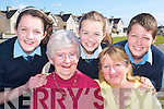 Care: Marconi Avenue resident Queenie Conroy, and caring teens Shannen Enright (1st year), Clodagh Meehan (1st year) and Corey Meehan, (2nd year), with Margaret Hayes, volunteer with the Ballybunion Senior Citizen Group who is calling on teens to care for the elderly..   Copyright Kerry's Eye 2008