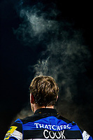 Steam rises from Chris Cook of Bath Rugby during a break in play. Aviva Premiership match, between Worcester Warriors and Bath Rugby on January 5, 2018 at Sixways Stadium in Worcester, England. Photo by: Rogan Thomson / JMP