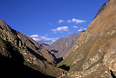 Urubamba Valley, Peru. Deep V shaped valley in the high Andes.