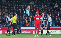 Loanee Paris Cowan-Hall of Wycombe Wanderers enter as a sub during the Sky Bet League 2 match between Wycombe Wanderers and Leyton Orient at Adams Park, High Wycombe, England on 23 January 2016. Photo by Andy Rowland / PRiME Media Images.