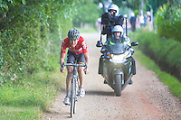 Jelle Wallays (BEL/Lotto-Soudal) pushing over the gravel roads, is the sole leader and will only be caught with 200 meters to go...<br /> <br /> 1st Dwars door het Hageland 2016<br /> (pics by Léon Van Bon)