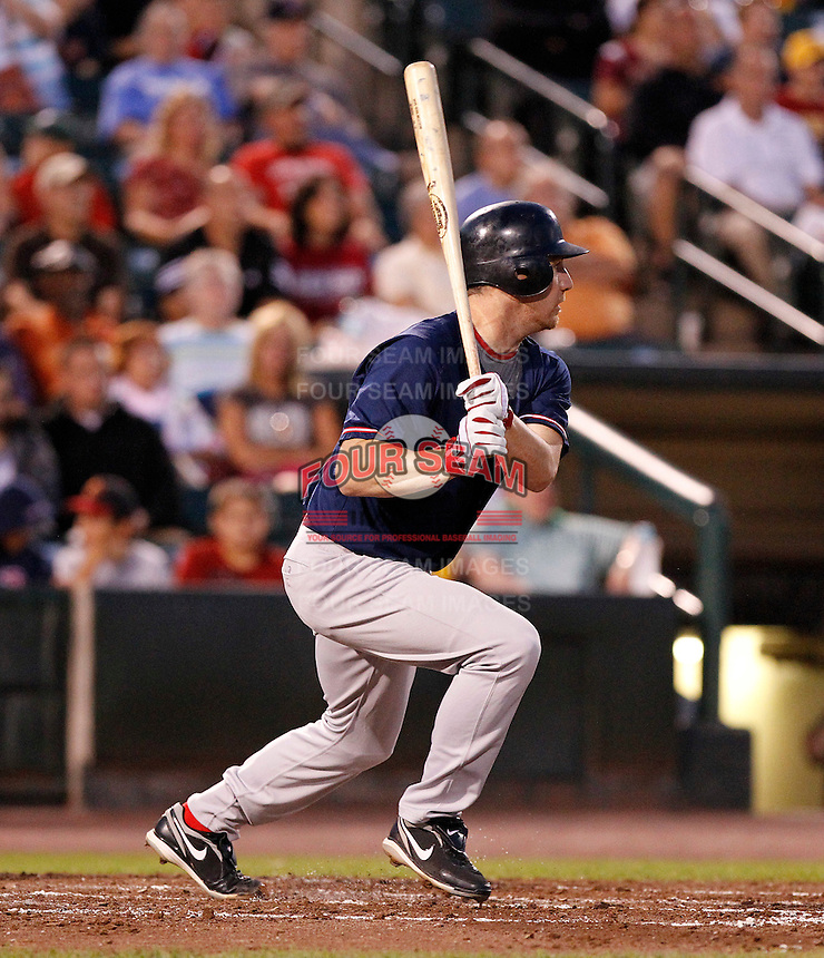 Boston Red Sox outfielder J.D. Drew #23 hits a single to left in the third inning while playing in a rehab assignment game with the Pawtucket Red Sox against the Rochester Red Wings at Frontier Field on August 30, 2011 in Rochester, New York.  (Mike Janes/Four Seam Images)
