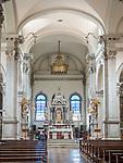 Main altar, Parish S Martino Vescovo, the colorful village of Burano, Italy.