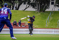Devon Conway bats during the Ford trophy one day cricket match between Wellington Firebirds and Auckland Aces at the Basin Reserve in Wellington, New Zealand on Sunday, 4 November 2018. Photo: Dave Lintott / lintottphoto.co.nz