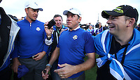 Lee Westwood (EUR) called out he couldn't see much because of the champagne in his eyes to Henrik Stenson (EUR) during Sunday's Singles at the 2014 Ryder Cup from Gleneagles, Perthshire, Scotland. Picture:  David Lloyd / www.golffile.ie