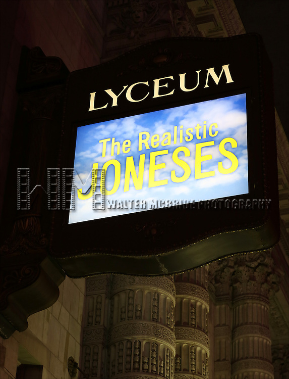 Theatre Marquee for Tracy Letts, Toni Collette, Marisa Tomei and Michael C. Hall during the Broadway Opening Night Performance for 'The Realistic Joneses'  at the Lyceum Theatre on April 6, 2014 in New York City.