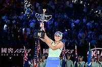 January 1, 2020: 14th seed SOFIA KENIN (USA) shows off the trophy after defeating GARBIÑE MUGURUZA (ESP) on Rod Laver Arena in the Women's Singles Final match on day 13 of the Australian Open 2020 in Melbourne, Australia. Photo Sydney Low. Kenin won 46 62 62