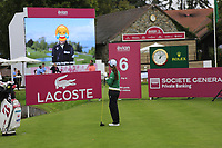 Ai Miyazato (JPN) watches the highlights from last year on the big screen playing her final tournament of her career  during Wednesday's Pro-Am Day of The Evian Championship 2017, the final Major of the ladies season, held at Evian Resort Golf Club, Evian-les-Bains, France. 13th September 2017.<br /> Picture: Eoin Clarke | Golffile<br /> <br /> <br /> All photos usage must carry mandatory copyright credit (&copy; Golffile | Eoin Clarke)
