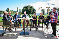 The New Zealand World Equestrian Games qualified Jumpers and Dressage Riders have an entertaining and enlightening interview with Vaughn Jefferis (former NZ representative at both the World Equestrian Games and The Olympic Games) and James Mconie (The Crowd Goes Wild).  L-R: Vaughn Jefferis; Samantha McIntosh; Daniel Meech; Bruce Goodin; Wendy Williamson; Julie Brougham; John Thompson; James McOnie. Takapoto Estate Show Jumping. Sunday 4 March. Takapoto Estate. Maungatautari. New Zealand. Copyright Photo: Libby Law Photography