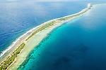 Lagoon and ocean aerial of Funafuti, Tuvalu