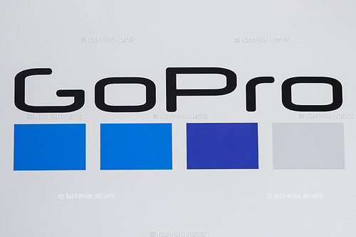 A logo of GoPro Hero is seen during the presentation of company's new products on September 25, 2018, Tokyo, Japan. The new Hero 7 Black is being promoted as a gimbal killer with its new HyperSmooth filming feature. The top of the range Black model will cost JPY 53,460 in Japan and there are two cheaper Silver and White versions which will be released at the same time. (Photo by Rodrigo Reyes Marin/AFLO)