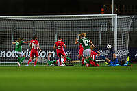 Ashley Hutton of Northern Ireland scores her side's equalising goal to make the score 2-2 during the UEFA Womens Euro Qualifier match between Wales and Northern Ireland at Rodney Parade in Newport, Wales, UK. Tuesday 03, September 2019
