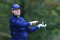Steven Brown (ENG) on the 14th tee during Round 4 of the Amundi Open de France 2019 at Le Golf National, Versailles, France 20/10/2019.<br /> Picture Thos Caffrey / Golffile.ie<br /> <br /> All photo usage must carry mandatory copyright credit (© Golffile | Thos Caffrey)
