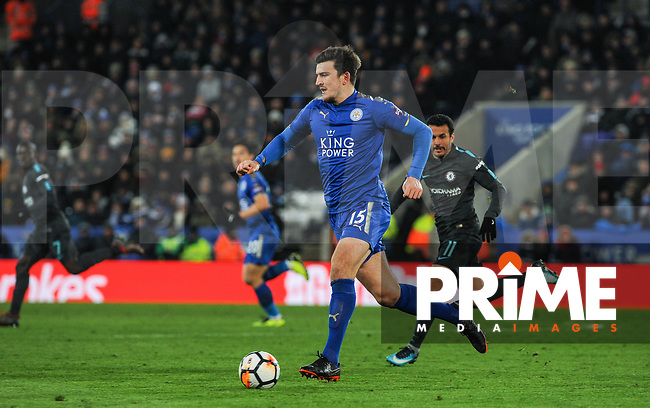 Harry Maguire of Leicester City during the FA Cup QF match between Leicester City and Chelsea at the King Power Stadium, Leicester, England on 18 March 2018. Photo by Stephen Buckley / PRiME Media Images.