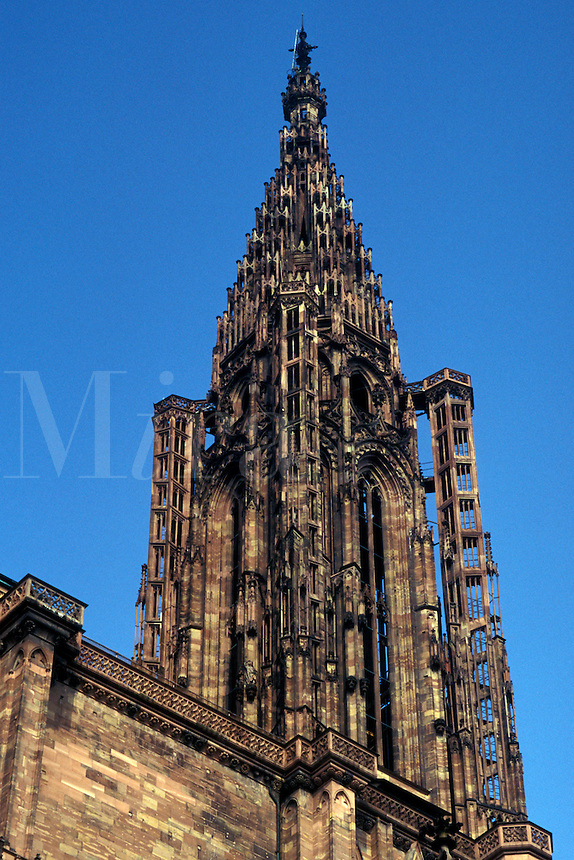 France, Alsace, Strasbourg, Bas-Rhin, Europe, cathedral, wine region, The steeple of Notre Dame Cathedral in the city of Strasbourg, the capital of Bas-Rhin, in the wine region of Alsace.