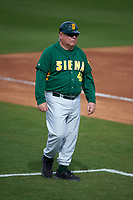 Siena Saints head coach Tony Rossi (40) during a game against the UCF Knights on February 21, 2016 at Jay Bergman Field in Orlando, Florida.  UCF defeated Siena 11-2.  (Mike Janes/Four Seam Images)