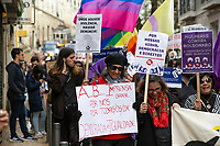 LISBON, PORTUGAL - March 8: A general view during a demonstration in International Women´s Day on March 8, 2020 in Lisbon, Portugal.<br /> Actions for international women's day are extended to the wide and the continent.<br /> Rede 8 de Março, a platform that brings together multiple feminist collectives from Portugal. They called for a national feminist strike for International Women's Day in the cities of Amarante, Aveiro, Braga, Coimbra, Évora, Faro, Lisbon, Porto, Viseu, and Vila Real and Ponta Delgada. Despite being celebrated since 1909, International Women's Day was only officially proclaimed by the United Nations in 1975.<br /> Photo by Luis Boza/VIEWpress vía Getty Images
