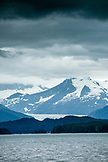 ALASKA, Juneau, views of snowcapped mountains while whale watching and exploring in Stephens Passage