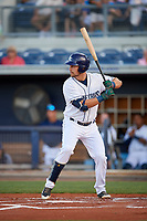 Charlotte Stone Crabs designated hitter Nathaniel Lowe (36) at bat during a game against the Palm Beach Cardinals on April 20, 2018 at Charlotte Sports Park in Port Charlotte, Florida.  Charlotte defeated Palm Beach 4-3.  (Mike Janes/Four Seam Images)