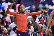 Washington, DC - August 17, 2018: Washington Mystics guard Shatori Walker-Kimbrough (32) celebrates a three pointer during game between the Washington Mystics and Los Angeles Sparks at the Capital One Arena in Washington, DC. (Photo by Phil Peters/Media Images International)