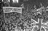 Section of the thousand or more supporters of the Rev Ian Paisley outside Ballymena Town Hall awaiting the result of the Bannside by-election. Paisley won the seat which had been previously held by the former Ulster Unionist Prime Minister, Captain Terence O'Neill. 17th April 1970. 197004170117e<br /> <br /> Copyright Image from Victor Patterson, 54 Dorchester Park, <br /> Belfast, UK, BT9 6RJ<br /> <br /> t1: +44 28 9066 1296 (from Rep of Ireland 048 9066 1296)<br /> t2: +44 28 9002 2446 (from Rep of Ireland 048 9002 2446)<br /> m: +44 7802 353836<br /> <br /> e1: victorpatterson@me.com<br /> e2: victorpatterson@gmail.com<br /> www.victorpatterson.com<br /> <br /> Please see my Terms and Conditions of Use at www.victorpatterson.com. It is IMPORTANT that you familiarise yourself with them.<br /> <br /> Images used on the Internet must be visibly watermarked i.e. © Victor Patterson<br /> within the body of the image and copyright metadata must not be deleted. Images <br /> used on the Internet have a size restriction of 4kbs and will be chargeable at current<br />  NUJ rates unless agreed otherwise.<br /> <br /> This image is only available for the use of the download recipient i.e. television station, newspaper, magazine, book publisher, etc, and must not be passed on to any third <br /> party. It is also downloaded on condition that each and every usage is notified within 7 days to victorpatterson@me.com<br /> <br /> The right of Victor Patterson to be identified as the author is asserted in accordance with The Copyright Designs And Patents Act (1988).
