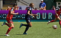 Portland, OR - Saturday July 15, 2017: Lynn Williams, Christine Sinclair during a regular season National Women's Soccer League (NWSL) match between the Portland Thorns FC and the North Carolina Courage at Providence Park.