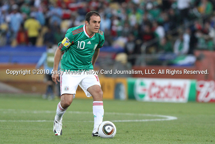 22 JUN 2010: Cuauhtemoc Blanco (MEX). The Mexico National Team lost 1-2 to the Uruguay National Team at Royal Bafokeng Stadium in Rustenburg, South Africa in a 2010 FIFA World Cup Group A match.