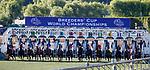 November 1, 2019: Sharing, ridden by Manuel Franco, wins the Breeders' Cup Juvenile Fillies Turf on Breeders' Cup World Championship Friday at Santa Anita Park on November 1, 2019: in Arcadia, California. Kaz Ishida/Eclipse Sportswire/CSM