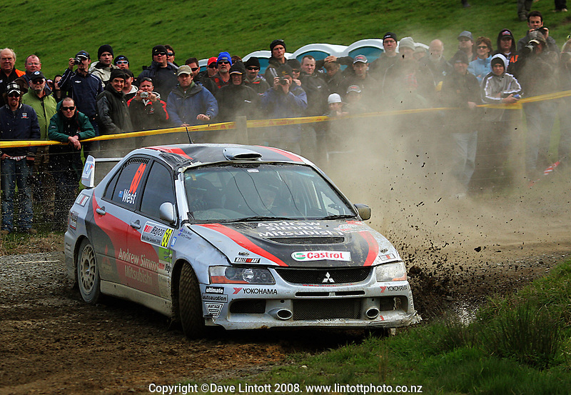 Chris West (NZ) takes a corner during stage 11 (Te Akau North), day two of the FIA World Rally Championship Repco Rally of New Zealand in Waikato, New Zealand on Saturday, 30 August 2008. Photo: Dave Lintott / lintottphoto.co.nz