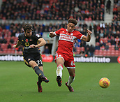 5th November 2017, Riverside Stadium, Middlesbrough, England; EFL Championship football, Middlesbrough versus Sunderland; Adam Matthews of Sunderland crosses past a challenge from Marcus Tavernier of Middlesbrough in the second half of the 1-0 loss