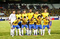 ATENÇÃO EDITOR: FOTO EMBARGADA PARA VEÍCULOS INTERNACIONAIS - RECIFE,PE,10 SETEMBRO 2012 - AMISTOSO SELEÇÃO BRASILEIRA - BRASIL X CHINA -jogadores do Brasil duarnte partida Brasil x China no Estádio José do Rego Maciel  (Arruda) em Recife na noite desta segunda feira (10).(FOTO ALE VIANNA - BRAZIL PHOTO PRESS).