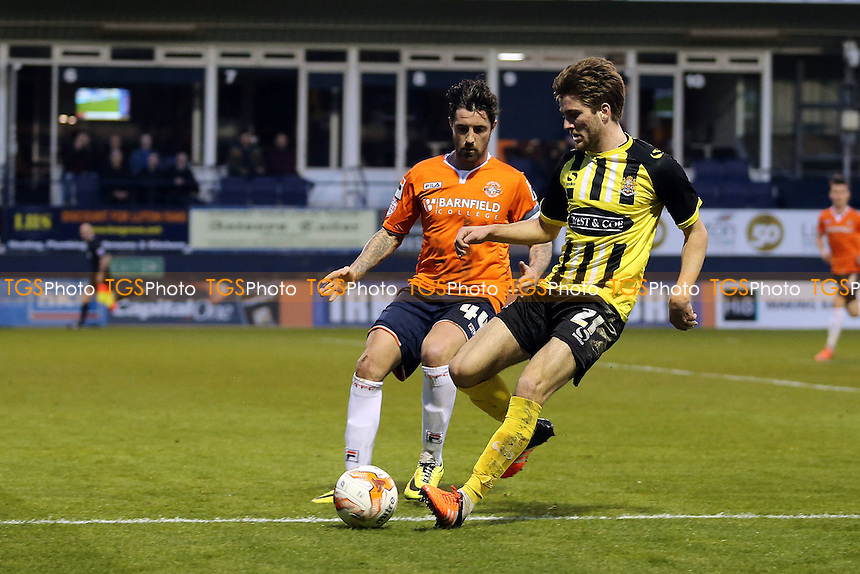 Alan Sheehan of Luton Town and Oliver Muldoon of Dagenham and Redbridge during Luton Town vs Dagenham and Redbridge, Sky Bet League 2 Football at Kenilworth Road on 12th April 2016