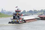{8/24/12} {10pmCST} Greenville , MS, U.S.A. --Sandbars creep up as the water level drops on the Mississippi River making navigating the Mississippi River difficult for tug boat captains  Friday August 24,2012. Historically low river levels on the Mississippi River are causing havoc on river traffic: grounding barges loaded with grain and fertilizer, traffic jams several miles long and forcing the Coast Guard to close down chunks of the river due to groundings. The area around Greenville, Miss., has closed three times the past week due to groundings. Last year, there were five total groundings the entire low-water season. Locals who fought historic high-water floods last year are this year engaged in a different fight: keeping barges afloat on a vanishing Mississippi.  -- Photo by Suzi Altman, .