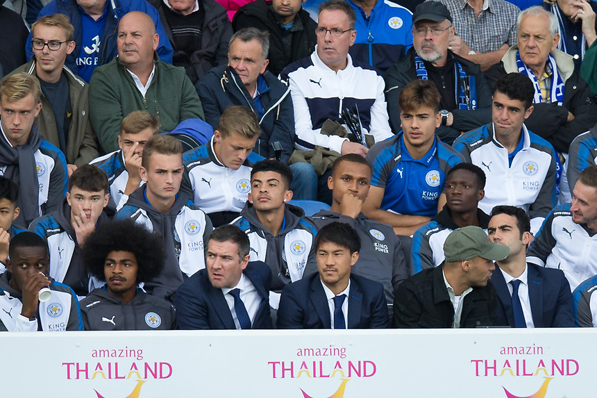 Leicester City's Shinji Okazaki looks on from the stand during the game<br /> <br /> Photographer Craig Mercer/CameraSport<br /> <br /> The Premier League - Leicester City v Chelsea - Saturday 9th September 2017 - King Power Stadium - Leicester<br /> <br /> World Copyright &copy; 2017 CameraSport. All rights reserved. 43 Linden Ave. Countesthorpe. Leicester. England. LE8 5PG - Tel: +44 (0) 116 277 4147 - admin@camerasport.com - www.camerasport.com