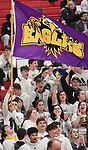 Civic Memorial students wave a team flag after their team scored. Highland played Civic Memorial in the Class 3A Effingham sectional championship game at Effingham High School in Effingham, Illinois on Thursday February 27, 2020. <br /> Tim Vizer/Special to STLhighschoolsports.com