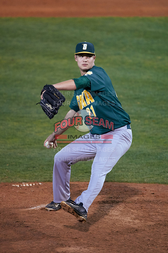 Siena Saints relief pitcher John Nolan (21) delivers a pitch during a game against the Stetson Hatters on February 23, 2016 at Melching Field at Conrad Park in DeLand, Florida.  Stetson defeated Siena 5-3.  (Mike Janes/Four Seam Images)