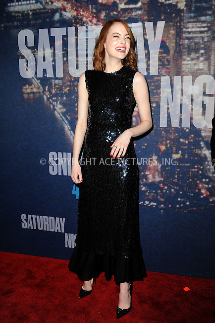 WWW.ACEPIXS.COM<br /> February 15, 2015 New York City<br /> <br /> Emma Stone walking the red carpet at the SNL 40th Anniversary Special at 30 Rockefeller Plaza on February 15, 2015 in New York City.<br /> <br /> Please byline: Kristin Callahan/AcePictures<br /> <br /> ACEPIXS.COM<br /> <br /> Tel: (646) 769 0430<br /> e-mail: info@acepixs.com<br /> web: http://www.acepixs.com