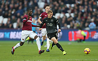 Burnley's Matej Vydra and West Ham United's Pedro Obiang<br /> <br /> Photographer Rob Newell/CameraSport<br /> <br /> The Premier League - West Ham United v Burnley - Saturday 3rd November 2018 - London Stadium - London<br /> <br /> World Copyright &copy; 2018 CameraSport. All rights reserved. 43 Linden Ave. Countesthorpe. Leicester. England. LE8 5PG - Tel: +44 (0) 116 277 4147 - admin@camerasport.com - www.camerasport.com