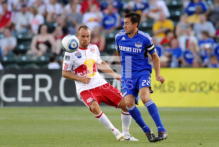 Davy Arnaud #22, Joel Lindpere...Kansas City were defeated 3-0 by New York Red Bulls at Community America Ballpark, Kansas City, Kansas.