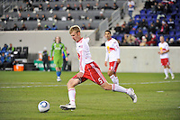 Tim Ream (5) of the New York Red Bulls. The New York Red Bulls defeated the Seattle Sounders 1-0 during a Major League Soccer (MLS) match at Red Bull Arena in Harrison, NJ, on March 19, 2011.