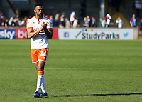 Blackpool's Curtis Tilt applauds the fans at the final whistle <br /> <br /> Photographer David Shipman/CameraSport<br /> <br /> The EFL Sky Bet League One - Scunthorpe United v Blackpool - Friday 19th April 2019 - Glanford Park - Scunthorpe<br /> <br /> World Copyright © 2019 CameraSport. All rights reserved. 43 Linden Ave. Countesthorpe. Leicester. England. LE8 5PG - Tel: +44 (0) 116 277 4147 - admin@camerasport.com - www.camerasport.com
