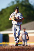 Aberdeen Ironbirds starting pitcher Lucas Humpal (43) gets ready to deliver a pitch during a game against the Batavia Muckdogs on July 14, 2016 at Dwyer Stadium in Batavia, New York.  Aberdeen defeated Batavia 8-2. (Mike Janes/Four Seam Images)