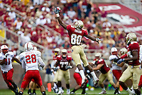 October 31, 2009:    Florida State wide receiver Jarmon Fortson (80) goes up high for a pass that was incomplete during Atlantic Coast Conference action between the North Carolina State Wolfpack and Florida State Seminoles at Doak Campbell Stadium in Tallahassee, Florida.