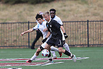 SALEM, VA - DECEMBER 3:Zachary Trevorrow (14) of Tufts University and Jacob Witte (9) of Calvin College battle for the ball during theDivision III Men's Soccer Championship held at Kerr Stadium on December 3, 2016 in Salem, Virginia. Tufts defeated Calvin 1-0 for the national title. (Photo by Kelsey Grant/NCAA Photos)
